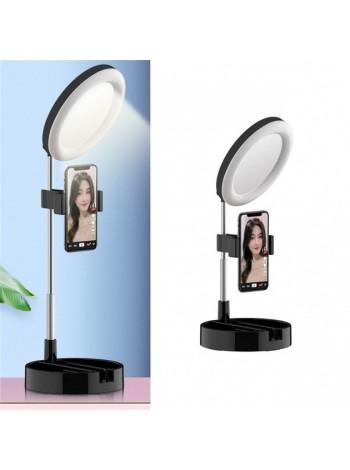 Кольцевая LED лампа 16 см складная настольная с держателем телефона и зеркалом G3