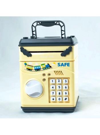 Детская копилка сейф с кодовым замком и купюроприемником для бумажных денег и монет
