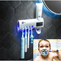 Держатель диспенсер для зубной пасты и щеток автоматический УФ-стерилизатор Toothbrush sterilizer