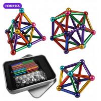 Игрушка головоломка Магнитный конструктор типа Неокуб в боксе 36 магнитных палочки и 26 шариков   Разноцветный
