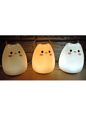 Ночной детский силиконовый LED светильник Котик