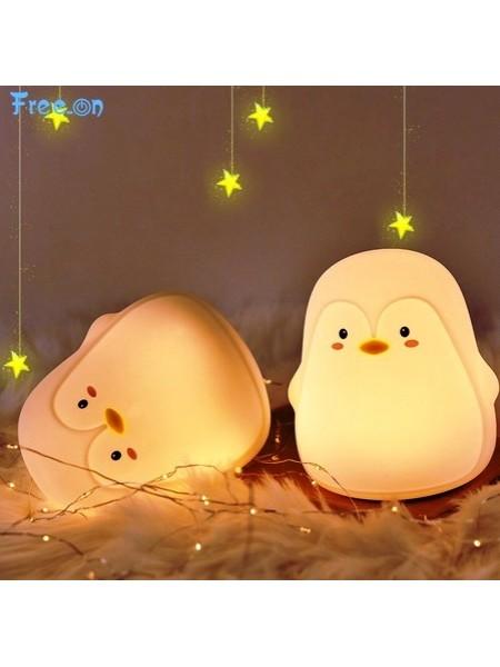 Ночник игрушка, детский силиконовый светильник Пингвин