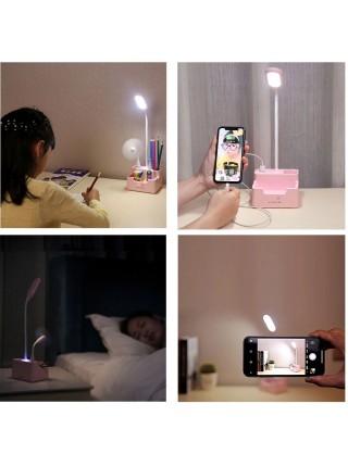 Настольная светодиодная лампа с  подставкой для  ручек и держателем для телефона + подарок