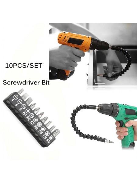 Универсальный гибкий удлинитель для отвертки и дрели Flexible Screw Too +l Насадки 10 в 1