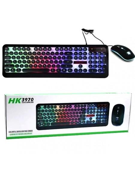 Комплект светящаяся игровая клавиатура c LED подсветкой и мышка HK3970