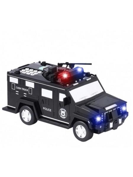 Машинка копилка сейф с кодом и отпечатком пальца CASH TRUCK полицейская машинка грузовик