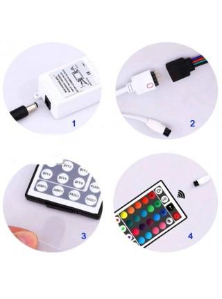 Светодиодная лента c пультом и блоком питания LED 3528 RGB 12v 5м с контроллером