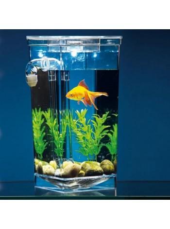 Аквариум с LED подсветкой самоочищающийся акриловый 2 л 25 см My Fun Fish