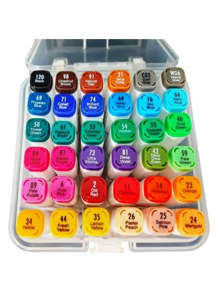 Набор двусторонних маркеров для скетчинга и рисования Zishu в пластиковом боксе 36 шт