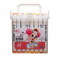 Набор двусторонних маркеров для скетчинга и рисования Zishu в пластиковом боксе 48 шт