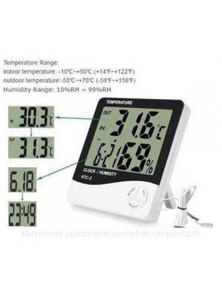Термометр, гигрометр, часы, выносной датчик HTC- 2 электронный