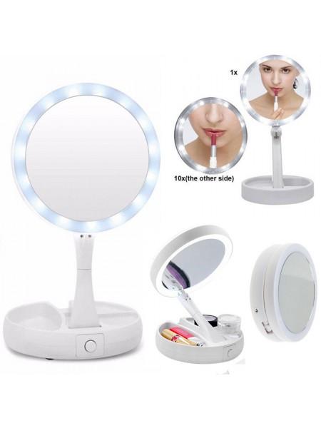 Складное косметическое зеркало Mirror с LED подсветкой и увеличением х10